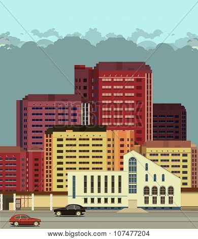 Background City Streets In Flat Style
