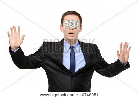Confused Blindfold Businessman With A 100 Dollar Banknote On His Eyes