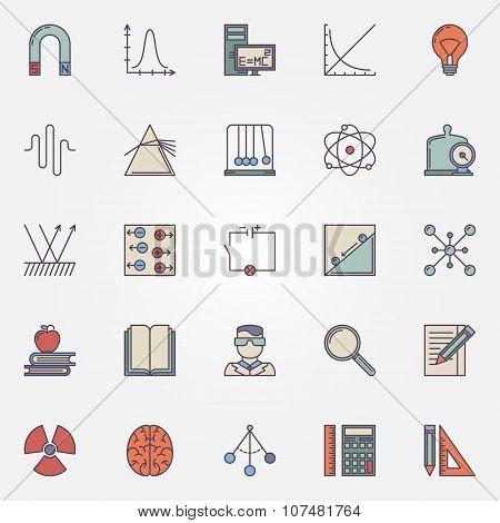 Physics flat icons set