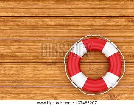 lifebelt on wooden background