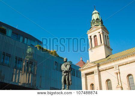 Monument of Croatian poet Petar Preradovic on Preradovic square (Flower square) and Serbian orthodox