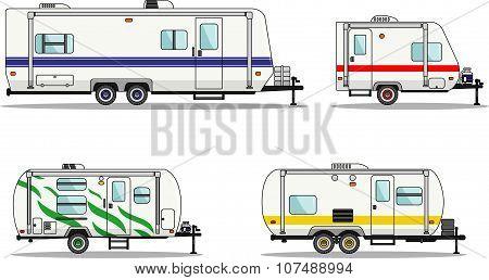 Detailed illustration of travel trailer caravans in flat style. poster