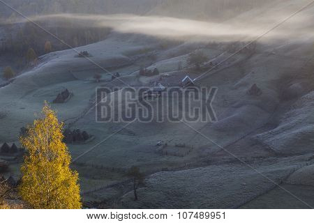 Autumn Carpathian Hills In Fog