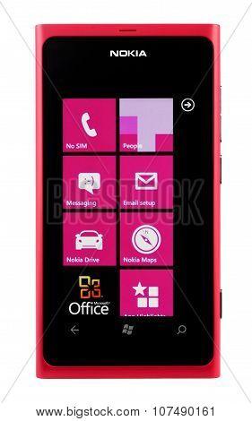 Varna, Bulgaria - Juny 03, 2012: Cell Phone Model Nokia Lumia 800 Has Super Amoled Capacitive Touchs
