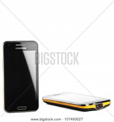 Varna, Bulgaria - July 25, 2012: Cell Phone Model Samsung I8530 Galaxy Beam Has Tft Capacitive Touch