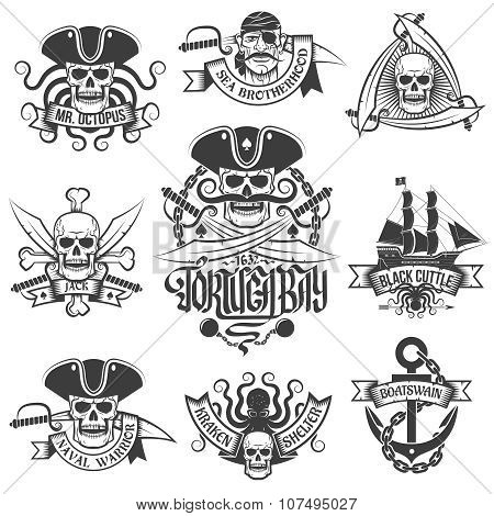 Corsair logo set in vintage style. Tattoo with pirate skulls. poster