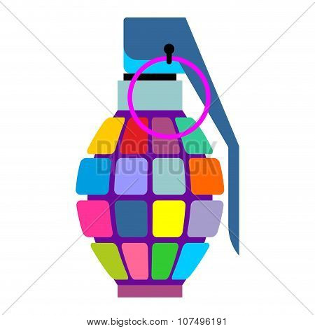 Colorful Hand Grenade For Hippies. Color Bursting Part Military Munition. Army Informal Projectile.