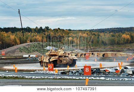 Modernized Main Battle Tank T-90S On Turning Area