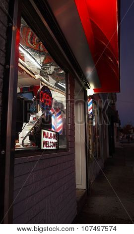 Barbershop At Night