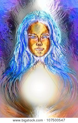 Woman goddess. Young attractive woman coated in metallic  paint  efect poster