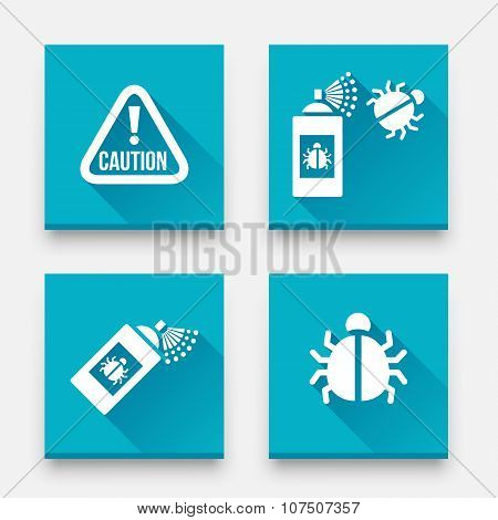 Disinfection icons. Caution attention sign. Insect fumigation spray icon. Vector Set of Bugs' Disinfection poster