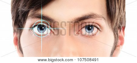 Closeup Of Blue Eyes From A Young Man Red And Irritated Eye With Laser Hologram On Her Eye