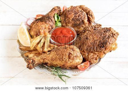 Served Fried Chicken And French Fries