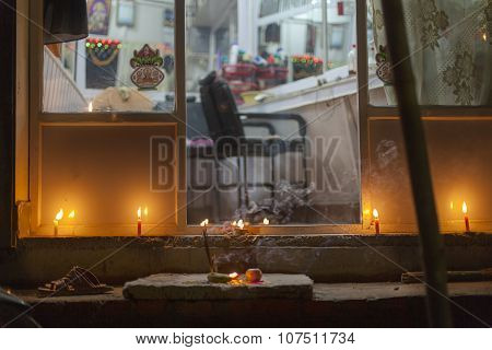 Tihar Festival Candles And Mandalas In Kathmandu