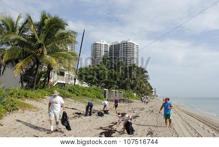 People Cleaning Up The Beach