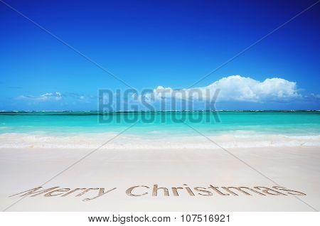 Tropical Beach And Merry Christmas Text