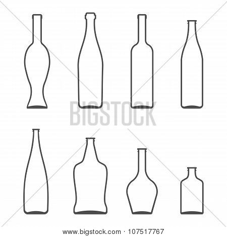 Set of Glass Bottles vector icons. Wine, beer, whiskey, liqueur, champagne and other Bottles silhoue