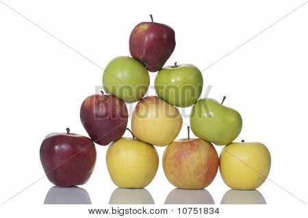 Pyramid Of Apples Isolated On A White Background