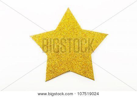 Golden Christmas Star Ornament Isolated On White
