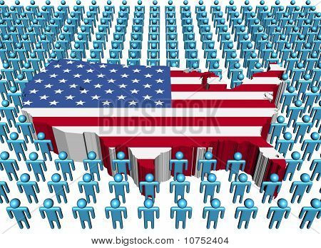 Usa Map Flag and many Abstract People