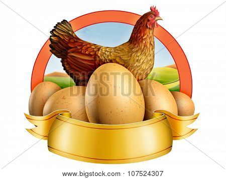 Some fresh eggs and an hen. Digital illustration.