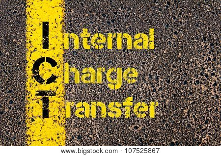 Concept image of Business Acronym ICT as Internal Charge Transfer written over road marking yellow paint line. poster