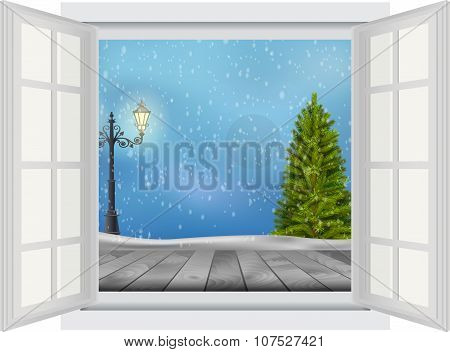 Open window of Christmas tree and lamp post on winter background