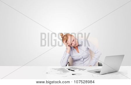 Pretty young businesswoman with plain white copy space