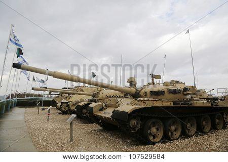 Vintage tanks on display at Yad La-Shiryon Armored Corps Museum