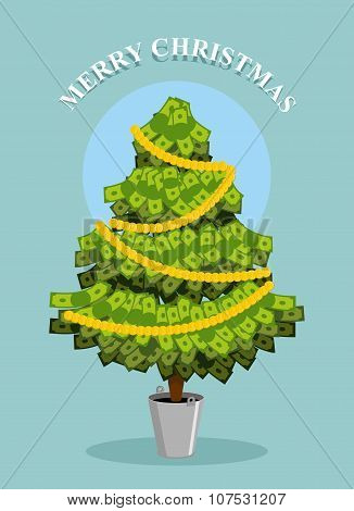 Merry Christmas. Moneytree. Greeting Card With Financial Well- Being. Dollars Grow On Tree.