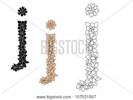 Vintage font letter j with floral elements