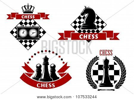 Chess game icons with chessmen and boards