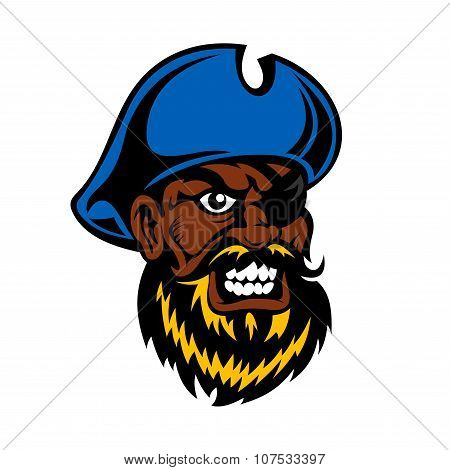 Angry cartoon dark skinned pirate captain with lush beard, in blue hat and eye patch, for tattoo or adventure theme poster