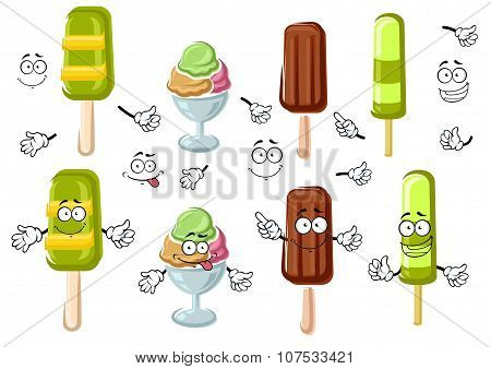 Cartoon ice cream bar, sundae and popsicles