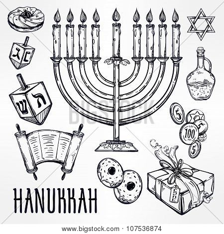 Hanukkah celebration elements set.