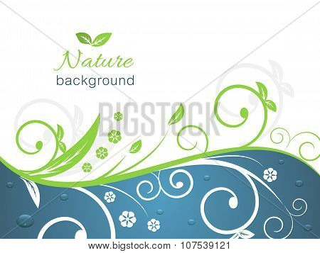 Nature illustration with spiral swirly pattern, water drops and space for your text.