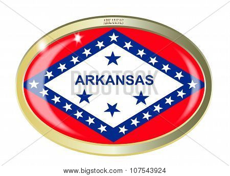 Oval metal button with the Arkansas flag isolated on a white background poster