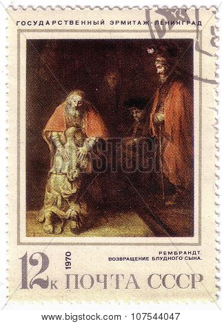 Ussr - Circa 1970: A Stamp Printed In The Ussr Shows A Painting By The Artist Rembrandt Harmenszoon