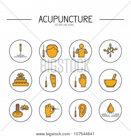 Collection of vector icons dedicated to traditional Chinese medicine acupuncture. a method of stimulation of certain points on the body with needles poster