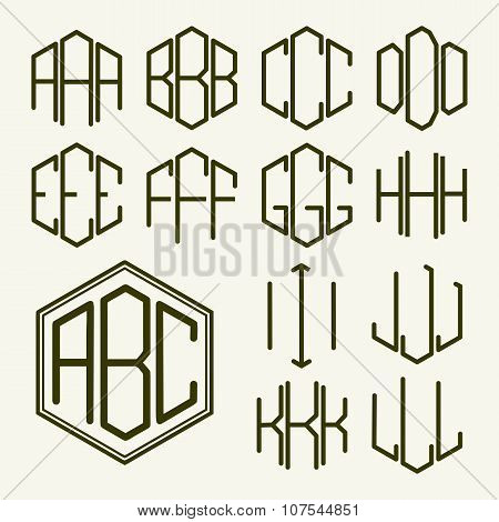 Set 1 template letters to create a monogram of three letters inscribed in a hexagon in Art Nouveau s