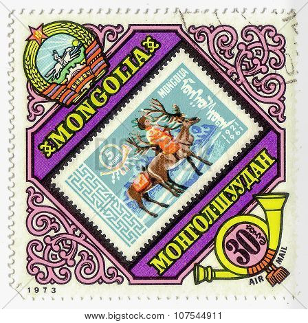 Mongolia - Circa 1973: Stamp Printed By Mongolia, Shows Boy On Deer, Circa 1973
