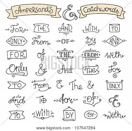 Doodle Calligraphic Elegant Ampersands And Catchwords