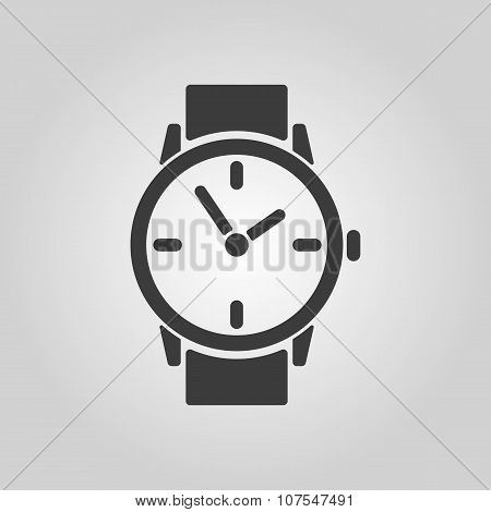 The watch icon. Clock and wristwatch, timer, time, stopwatch symbol. Flat Vector illustration poster