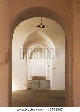 Hallway With Several Arches