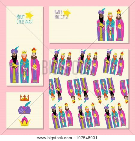 Set Of 4 Universal Christmas Greeting Cards With Three Kings. Three Wise Men. Template.