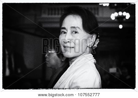 Forum 2000 Conference In Prague. Opposition Leader Aung San Suu Kyi