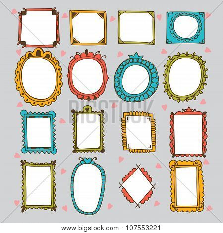 Sketchy Ornamental Frames And Borders. Doodles Frame Set. Hand Drawn Vector Design Elements