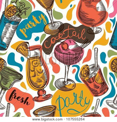 Seamless pattern with vintage cocktails and hand drawn lettering. Cocktail party. Retro colorful vec