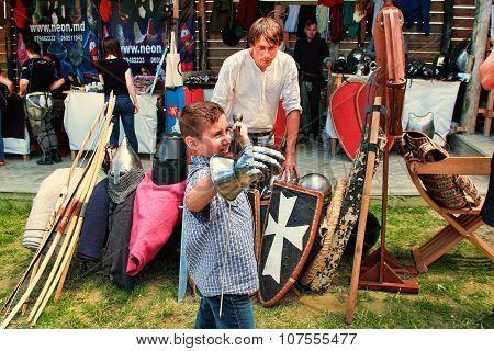 Vatra, Moldova. June 28, 2015. Medieval Festival. Spectators Are Theatrical Performances Involving T