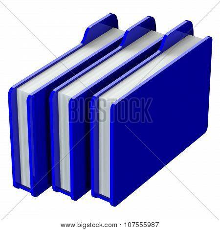 Blue Folders Isolated On White Background